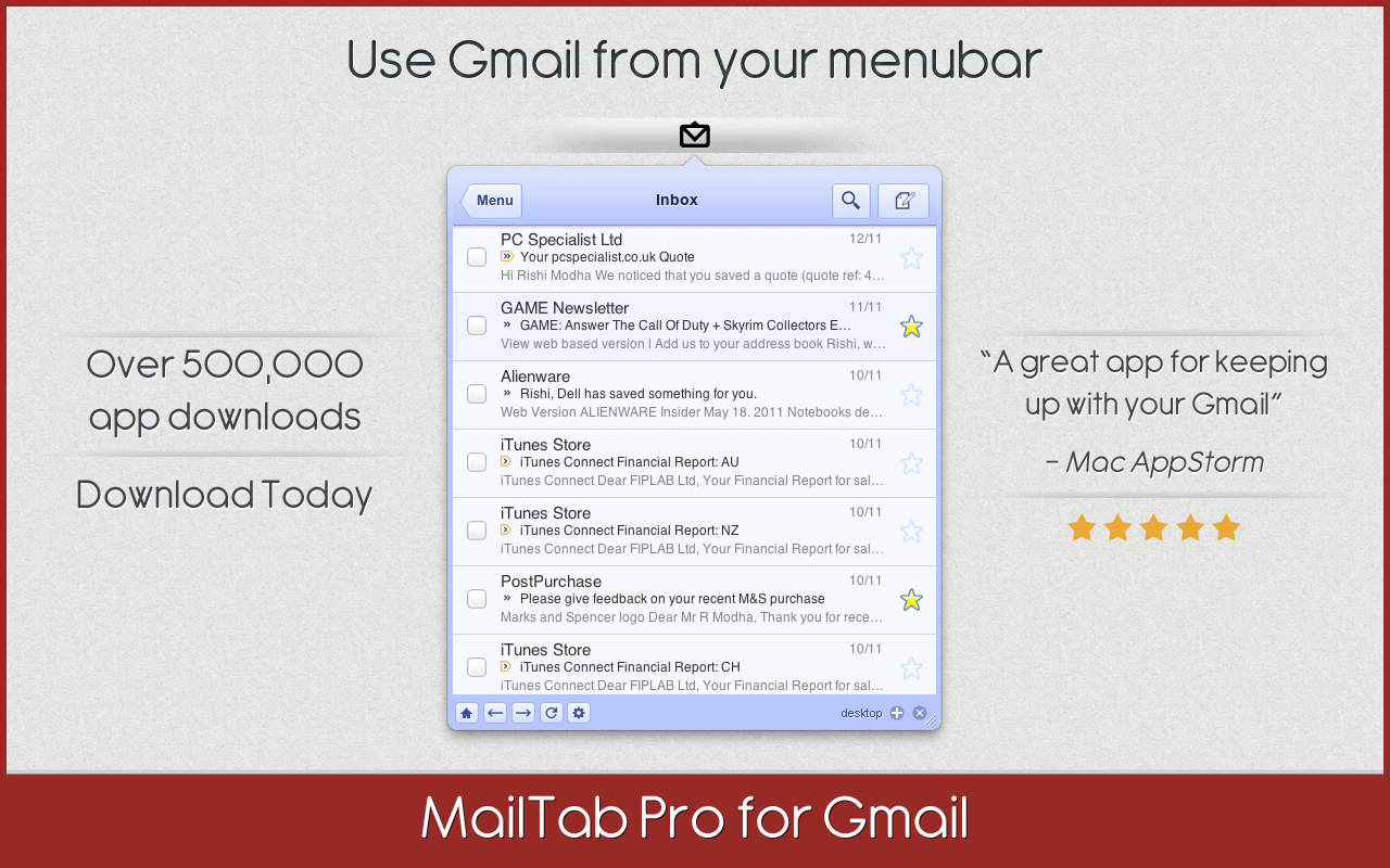 MailTab Pro for Gmail (com.fiplab.mailtabpro) is a Mac software