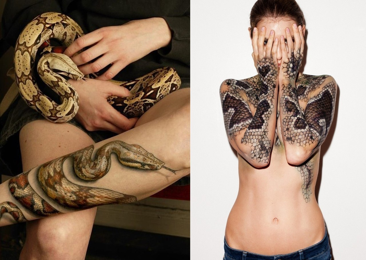 Тату змеи для девушки на ноге фото