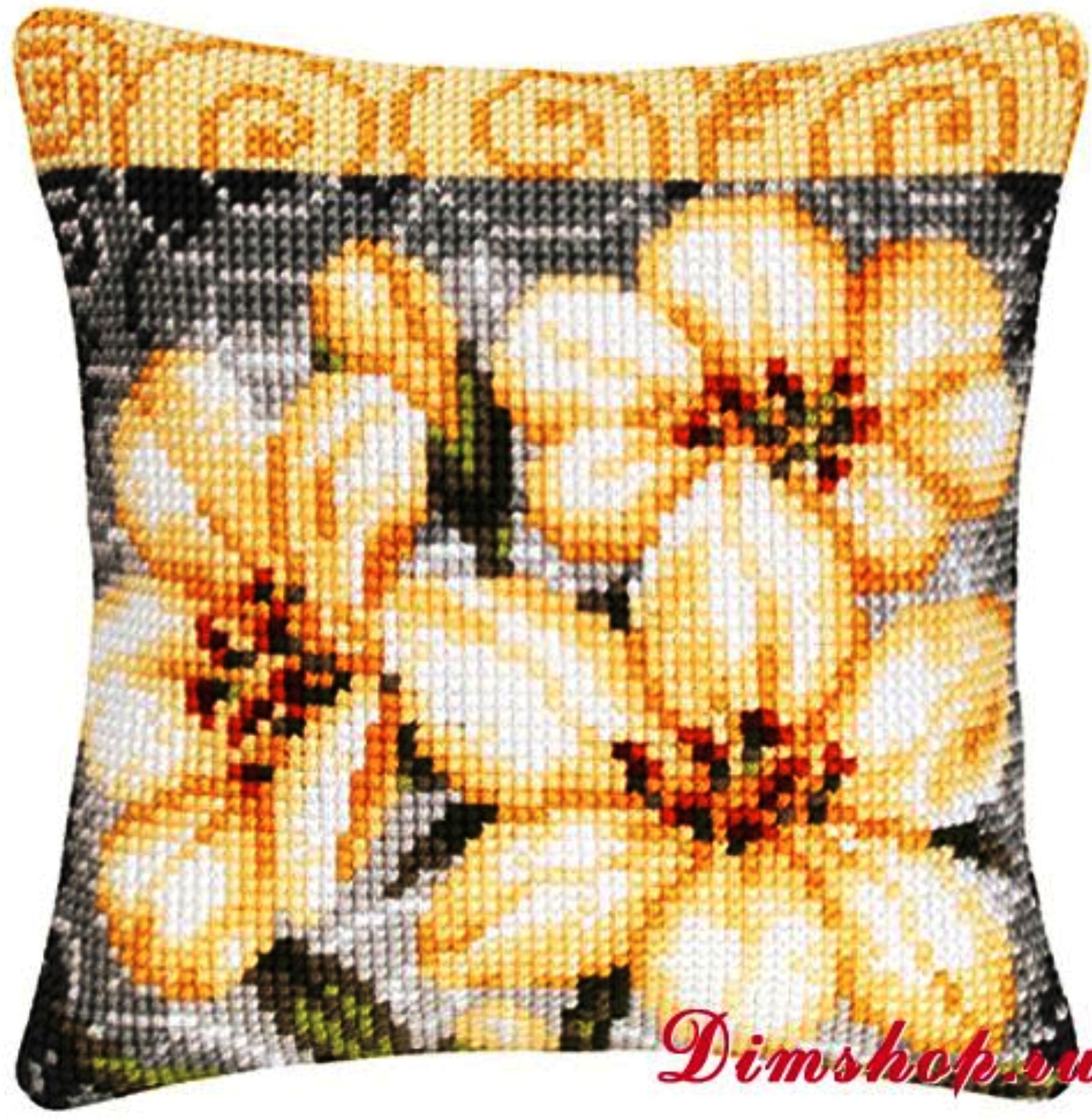Схема вышивка подушки на крупную канву