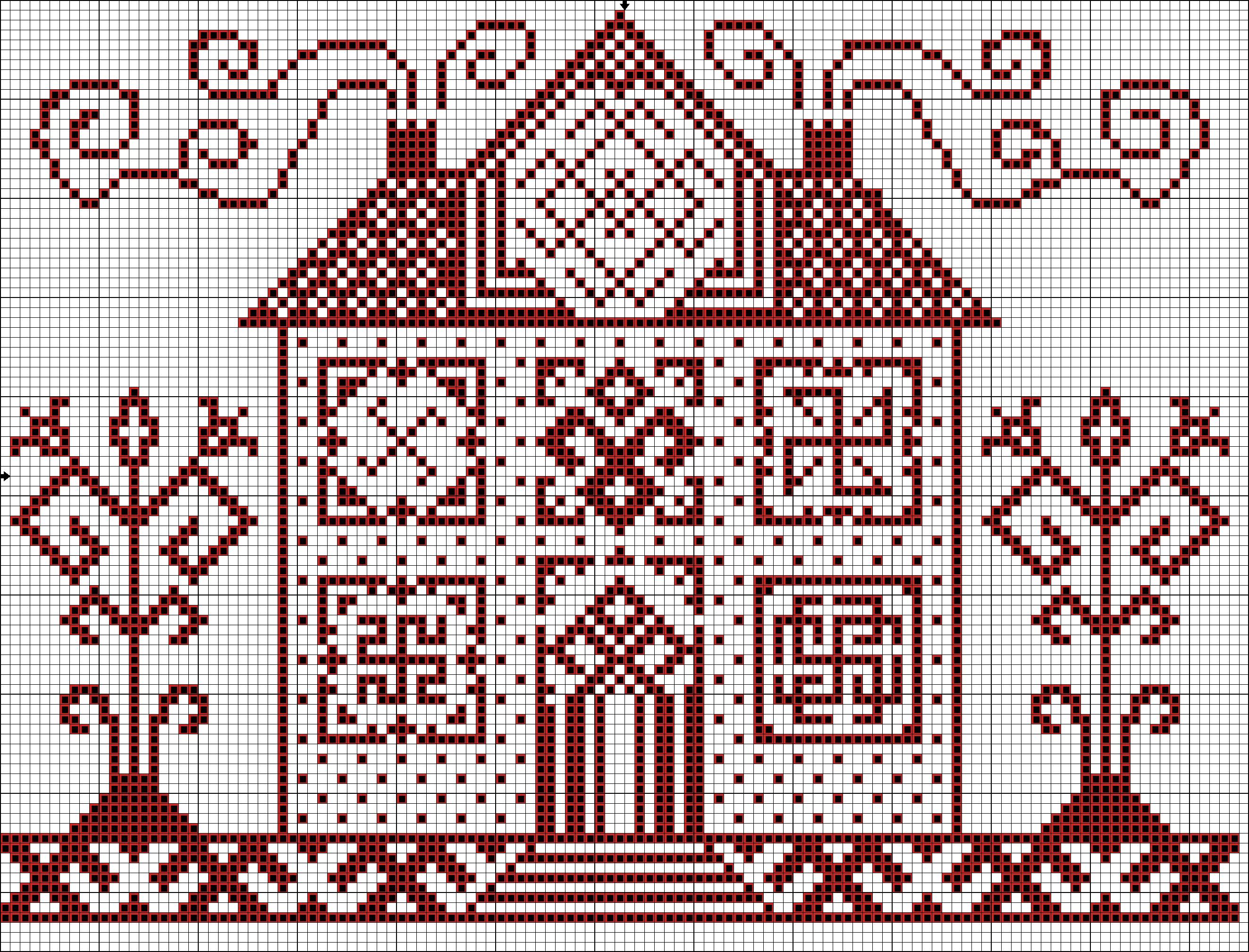 Домики вышивка крестом монохромная схемы