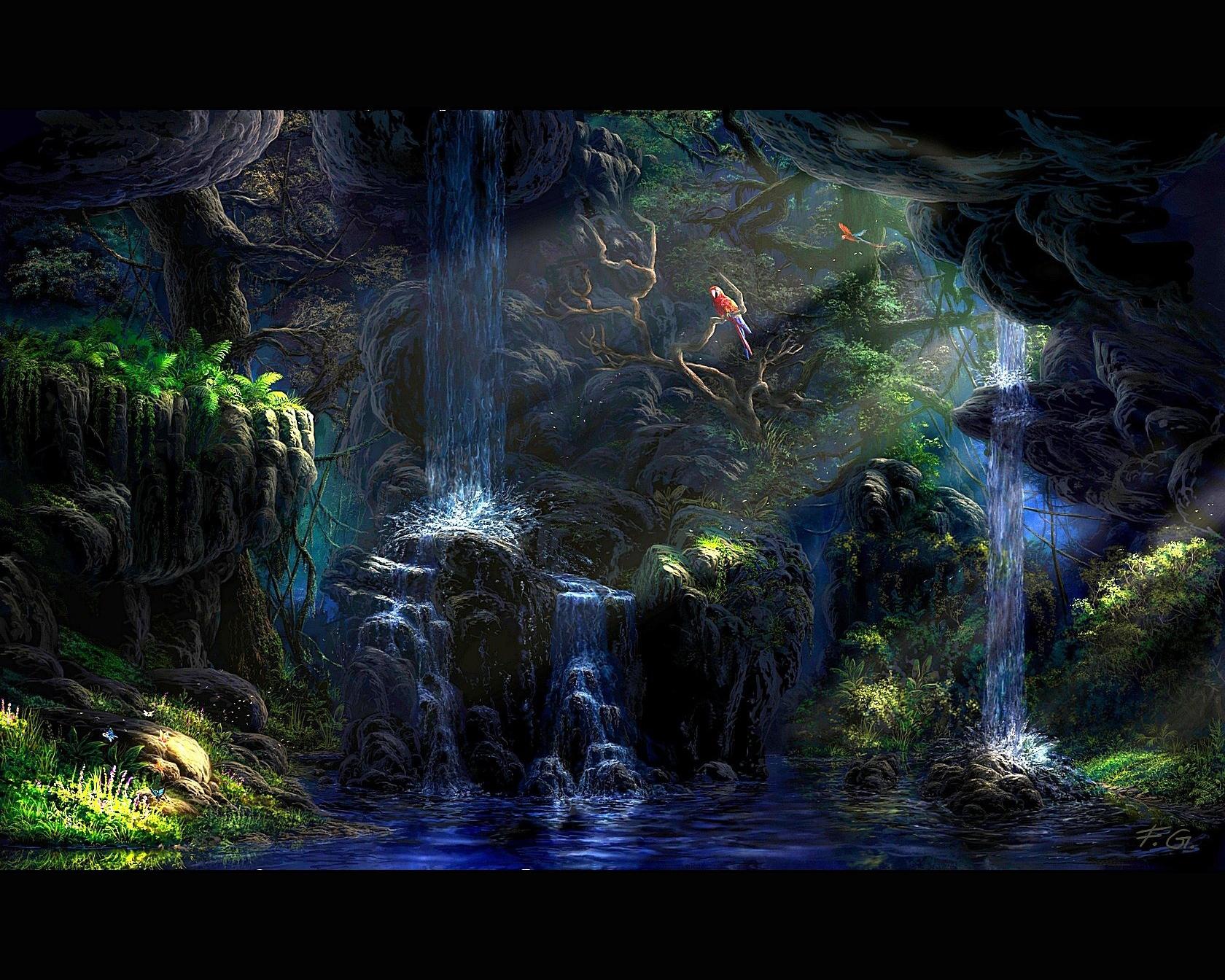 Водопад из картины бесплатно